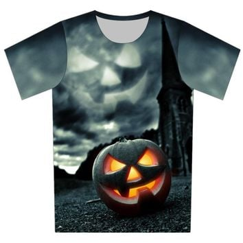 Joyonly 2018 Summer Children Cool 3D T-shirts Boys Girls Kid's Funny Halloween Pumpkin lantern Skull Printed Punk T shirt 4-20Y