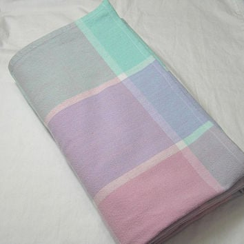 Pastel Color Plaid, Hand Woven Cotton Tablecloth from India, Size 69 x 56 Inches, Circa 1970s, ~~by Victorian Wardrobe