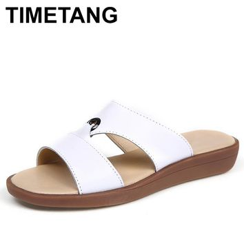 TIMETANG Bohemia Summer Casual Women wedges Flat Sandals Platform 2018 Woman Ladies Beach Shoes Flip Flops Genuine leather C192