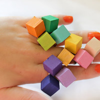 Neon Bright Color Wood Geometric Ring by NHartisan on Etsy