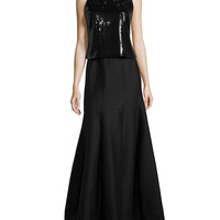 Beaded Two-Piece Gown, Black, Size: 6, BLACK/BLACK - Halston Heritage