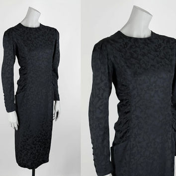 SALE Vintage 1980s Dress / 80s Black Silk Floral Ruched Shift Dress M L