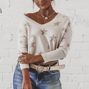 CHASER Star Intarsia V-Neck Sweater