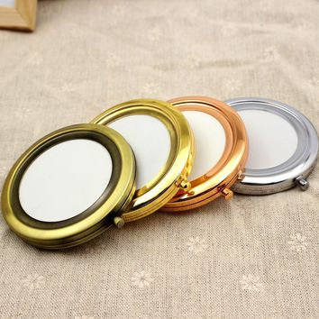 Women Girls Portable 7cm Pocket Mirror Makeup Round Double Side Compact Mirror High Quality Metal Folding Mini Mirror Beauty Too