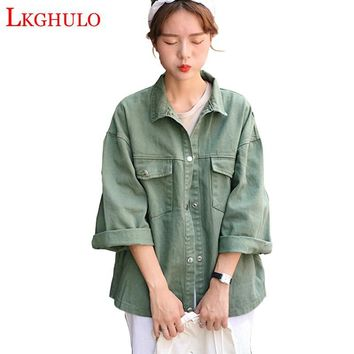 Trendy Sweet 3 Color Denim Jacket  Women Casual Long Sleeve Coat Fall 2018 New Fashion Button Up Pockets Lapel Jacket Plus Size A436 AT_94_13