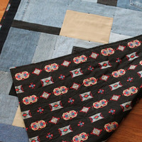 Southwestern Baby Quilt Denim Upcycled Black Red Gray Khaki Rustic Cotton Crib Toddler 40x59 in Small Throw Lap Size- US Shipping Included