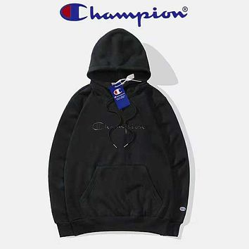 Champion Autumn And Winter New Fashion Bust Embroidery Letter Women Men High Quality Hooded Long Sleeve Sweater Top Black