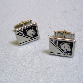 Vintage Silvertone Metal Knights Horse Cuff Links
