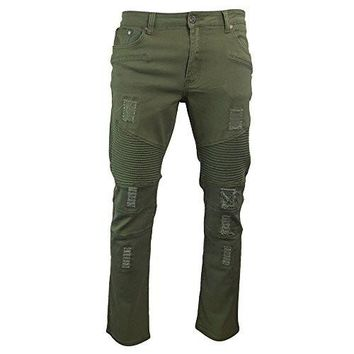 Mens Ripped and Distressed Regular Fit Denim Biker Jeans (36x32, Olive)