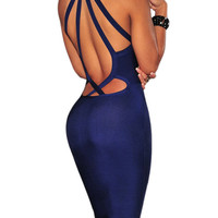 Eva Navy Keyhole Cutout Detail Dress