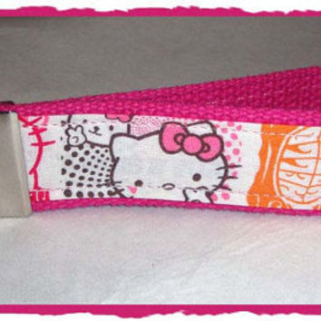 Hello Kitty Key Fob - Wristlet - Keychain - Retro Kitty - Hot Pink