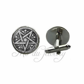Satanism Gothic Glass Dome Cufflinks Baphomet Cuff-Link Skull Pentacles Cuff Button Inverted Pentagram Jewelry for Women Men