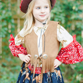 Little Cowgirl Outfit, Cowgirl Costume for Birthdays and Rodeos, Girls Costume, Girls Cowgirl Hat, Vest and Ruffled Skirt, Toy Story