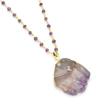Amethyst and Crystal Druzy Pendant-Select your Preference