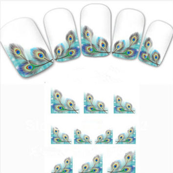 Beauty Peacock Nail Art Water Transfers Decals Natural False Nail Promotion