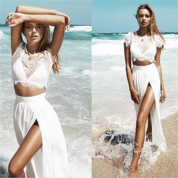 Evening Dresses White Lace Cap Sleeves Two Pieces Prom Dresses Slit