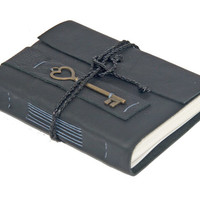 Black Leather Journal with Heart Key Bookmark - Ready to ship