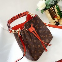 Lv small high version microfiber leather bucket bag woven handle red