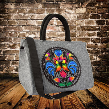 Felt handbag for women, casual  shoulder bag with birds roosters everyday bag with embroidery  small laptop bag, handmade crossbody, russian