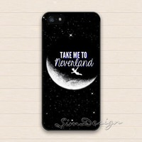Peter Pan iPhone 5 5s Case,iPhone 4 4s Case,iPhone 5C Case,Samsung Galaxy S3 S4 S5 Case,Peter Pan Take me to neverland Hard Rubber skin Case