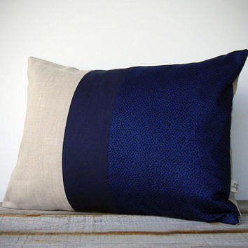 LIMITED EDITION: Cobalt Blue Liberty Print Pillow by JillianReneDecor - Fall Leaves - Decorative Home Decor - Marco D Tana Lawn