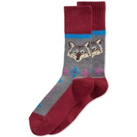 Hot Sox Mens Wolf Print Casual Boot Socks