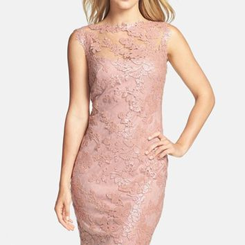 Petite Women's Tadashi Shoji Sequin Illusion Lace Dress