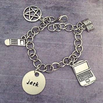 "Sam ""Jerk"" Charm Bracelet - Sam Jewelry - Supernatural Jewelry - Team Free Will Jewelry - The Family Business Jewelry"