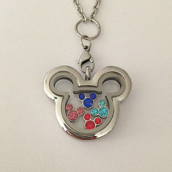 Disney inspired Mickey Mouse floating memory locket stainless steel with charms
