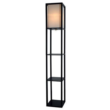 "Light Accents Floor Lamp 3 Shelf Standing Lamp 63"" Tall Wood with White Linen Shade (Black)"
