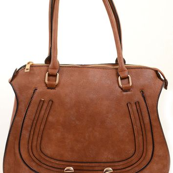Tan Vegan Leather Western Inspired Large Fashion Tote Bag Purse