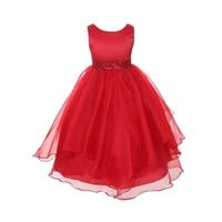 Chic Baby Girls Layered Beaded Flower Christmas Dress