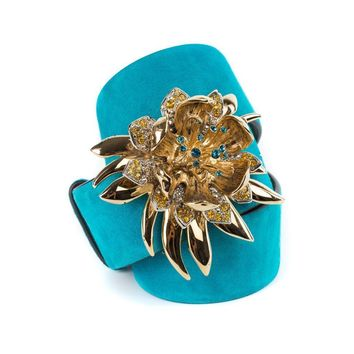 Roberto Cavalli Turquoise Suede Belt with Embellished Flower Buckle