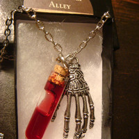 Halloween Zombie Hand With Vlood Vial Necklace (1237)