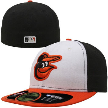New Era Baltimore Orioles White-Orange On-Field Authentic 59FIFTY Performance Fitted Hat