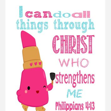 Lippy Lips Shopkins Christian Nursery Decor Print, I Can Do All Things Through Christ Who Strengthens Me - Philippians 4:13