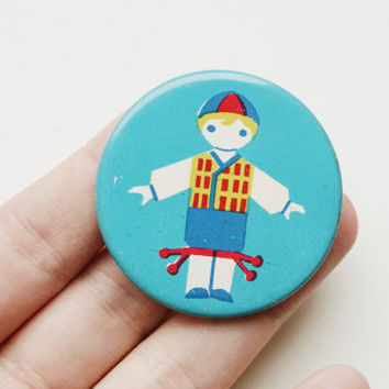 Vintage Soviet era tin pin pinback button medallion cordon badge token folk clothing folklore European brooch child kid