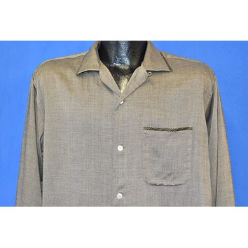 50s Brown Rayon Loop Collar Rockabilly Shirt Large