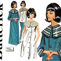 Cleopatra Pattern Bust 34 Butterick 2508 1960s Egyptian Wide Collar Robe Shift Dress Jacket Slim Pants Pajamas Womens Vintage Sewing Pattern