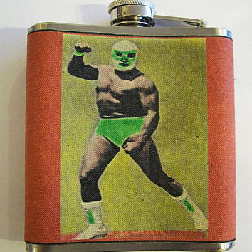Mexican Wrestler Flask Retro Vintage From