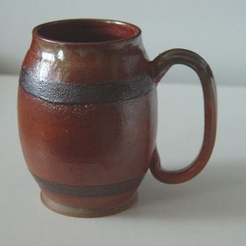 XL Keg Beer Stein \ Beer Barrel Growler \ Cider Mug, Large Handled 24 ounce oz pottery, Shiny Copper Brown, Wheel Thrown Pottery stoneware