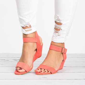 Ankle Wrap Coral Wedge Sandals
