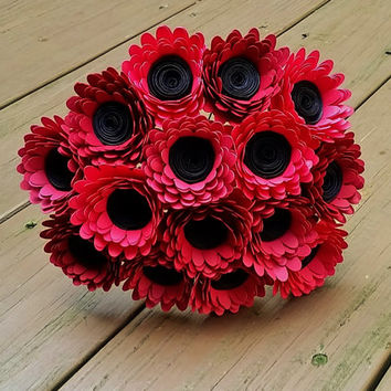 Paper Flower Bouquet -  15 Red Daisy Paper Flowers  - Handmade Paper Flowers for Brides, Weddings, Showers, Birthdays