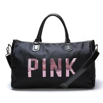 PINK Print Durable Sport Exercise Gym Hand Pocket Travel Luggage Bag