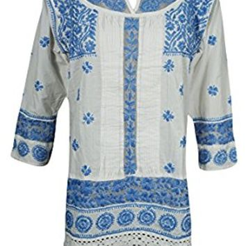 Mogul Womens Indian Tunic Kurti Blue Chikankari Embroidered Cotton Boho Top Blouse