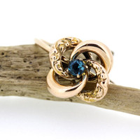 Antique Love Knot Ring | Dainty Stacking Ring | Victorian Promise Ring | Recycled Rose Gold Ring | Vintage Blue Gemstone Ring | Size 5