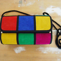 Pop Art - Vintage Color Block Suede Flip Shoulder Purse Clutch Wood Case