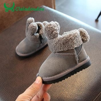 Claladoudou 12-14CM Genuine Leather Baby Girls Snow Boots Cute Warm Soft Winter Shoes Gray Toddler Boys Booties For 0-3Y Kids