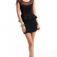 Peplum Skirt Lace Bust Sweetheart Dress in Black