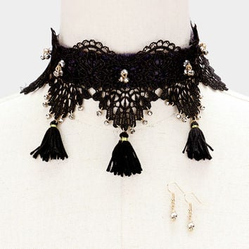 "12"" lace triple tassel fringe choker collar Necklace 1.25"" earrings 4"" wide"